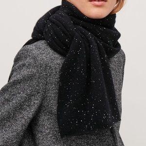COS 100% Cashmere Speckled Black Scarf